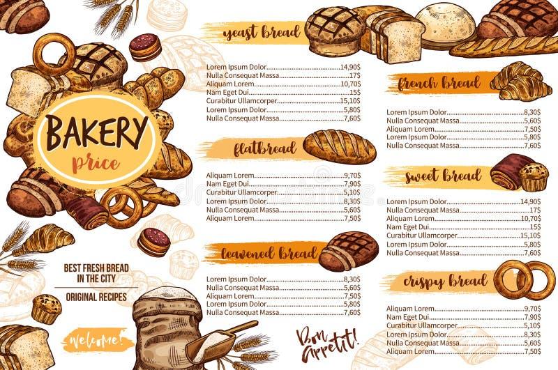 Шаблон меню хлебопекарни хлеба для кафа и печенья иллюстрация штока