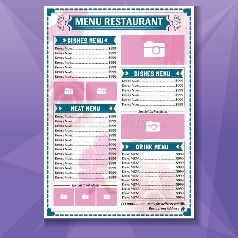 Шаблон меню Food, макет меню Food, концепция меню Vector Food Menu иллюстрация штока