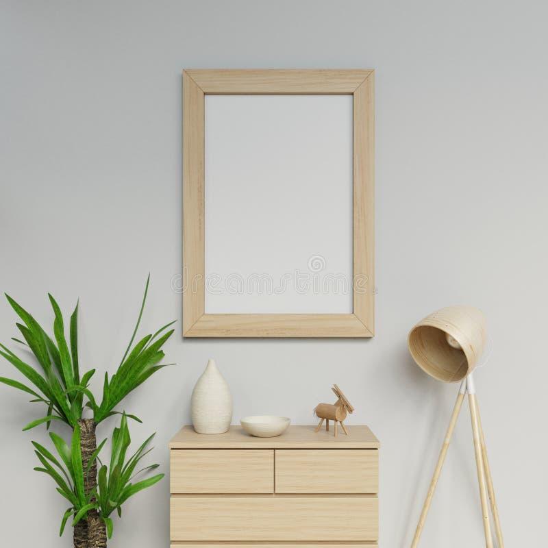 шаблон модель-макета размера плаката a1 перевода 3d современный домашний внутренний с вертикальной рамкой вися на серой стене в ж иллюстрация вектора