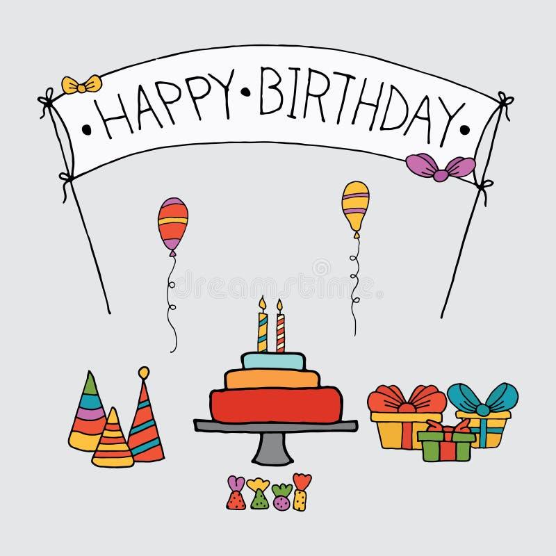 Шаблон наборов карты приглашения дня рождения иллюстрация штока