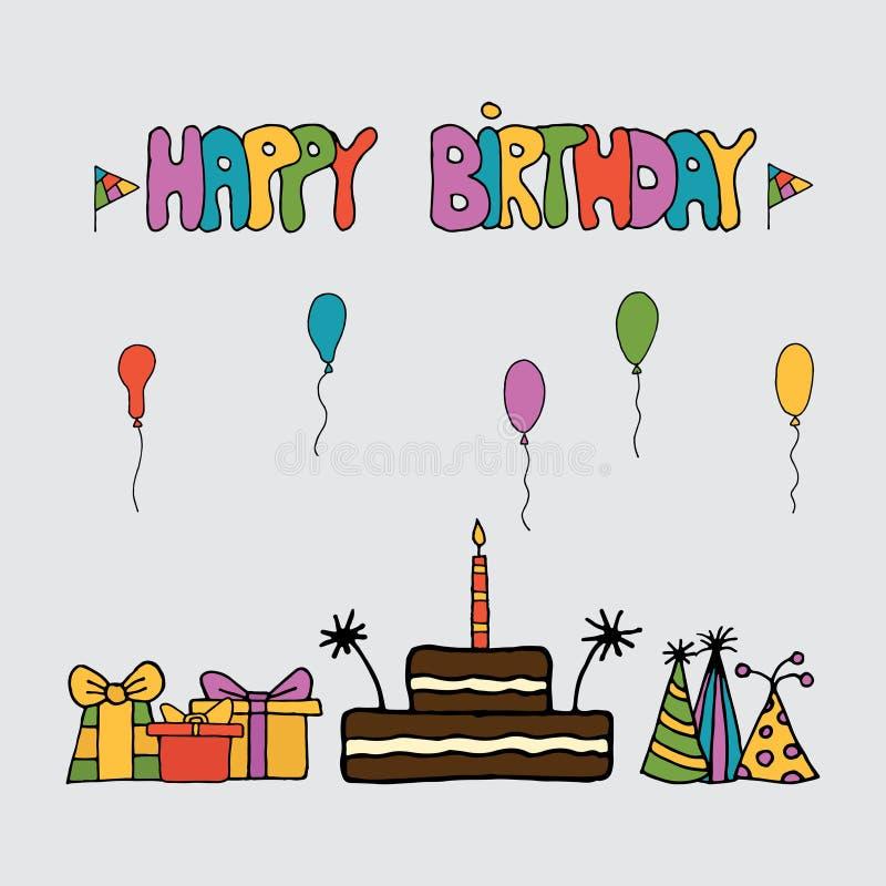 Шаблон наборов карты приглашения дня рождения бесплатная иллюстрация