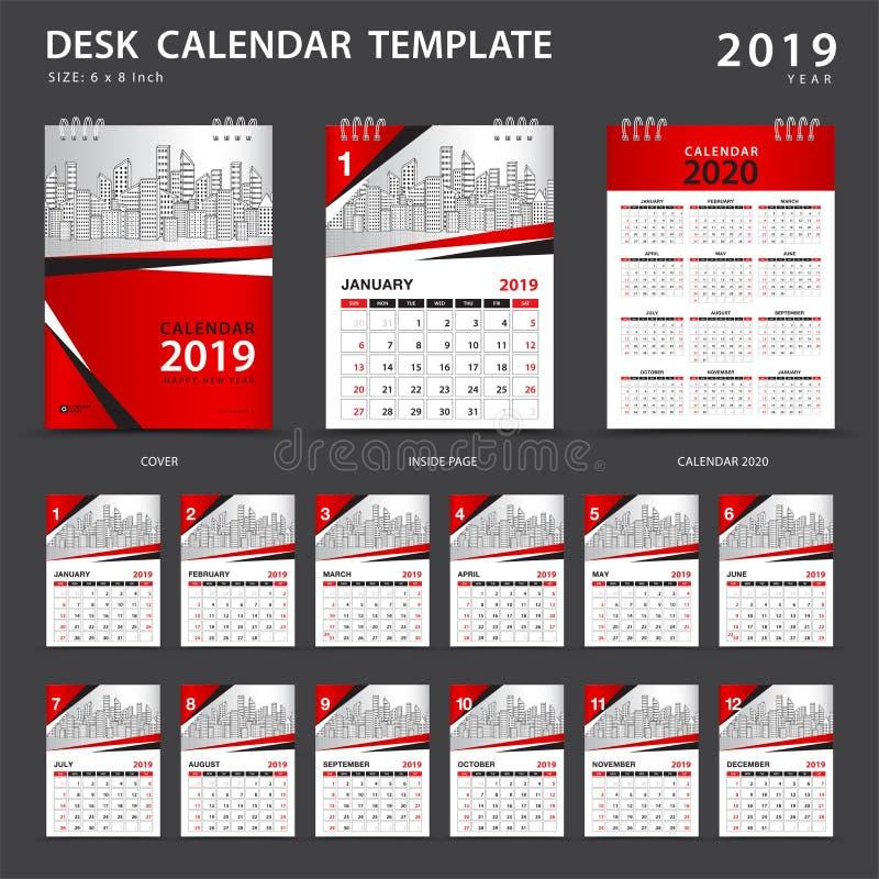 Шаблон 2019 настольного календаря Комплект 12 месяцев плановик Старты недели на воскресенье Дизайн канцелярских принадлежностей р бесплатная иллюстрация