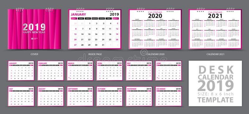 Шаблон 2019 настольного календаря, установил 12 месяцев, календаря 2019, 2020, 2021 художественных произведений иллюстрация штока