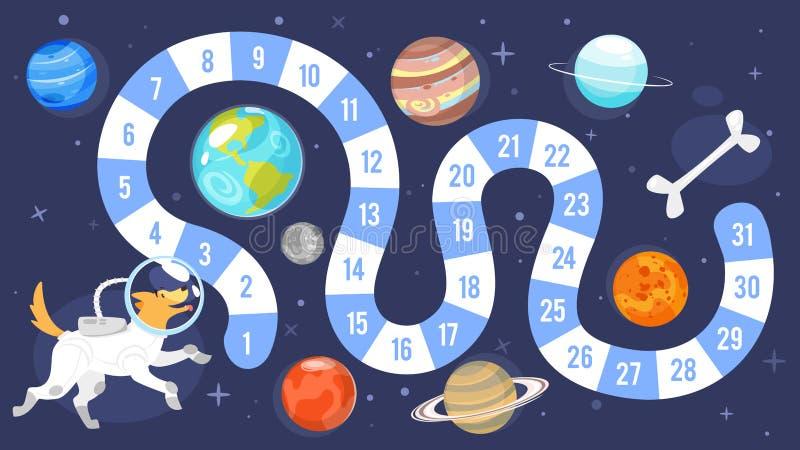 Шаблон настольной игры космоса детей иллюстрация штока