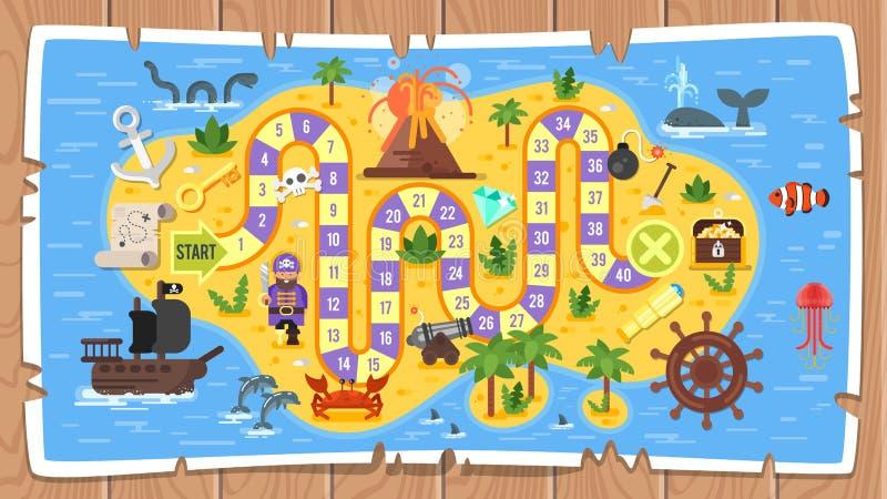 Шаблон настольной игры пирата детей иллюстрация вектора