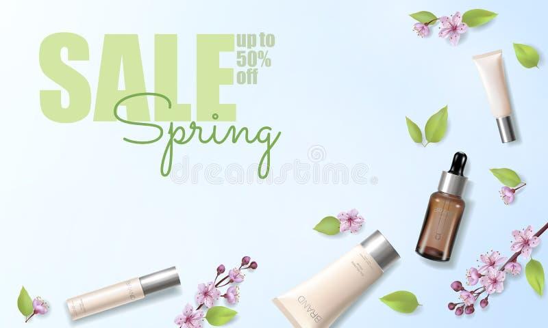 Шаблон объявления вишневого цвета продажи весны органический косметический Цветок 3D предложения promo весны сути Skincare розовы бесплатная иллюстрация