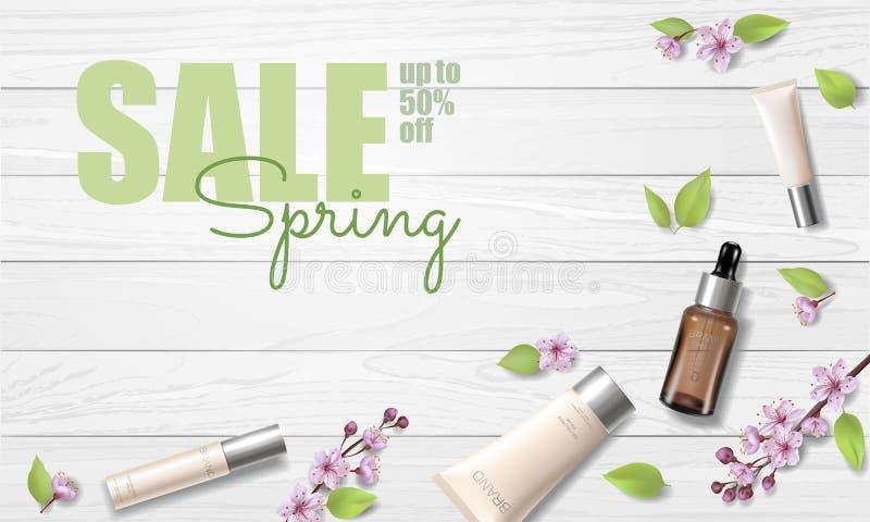 Шаблон объявления вишневого цвета продажи весны органический косметический Цветок 3D предложения promo весны сути Skincare розовы иллюстрация вектора