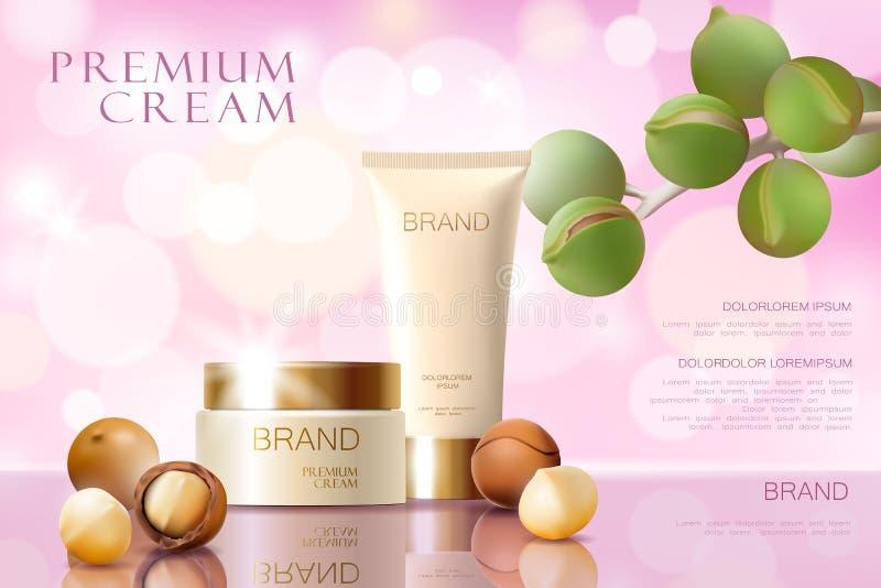 Шаблон объявления реалистического орехового масла макадамии 3d косметический Свет - розовая сияющая забота кожи красоты модель-ма иллюстрация штока