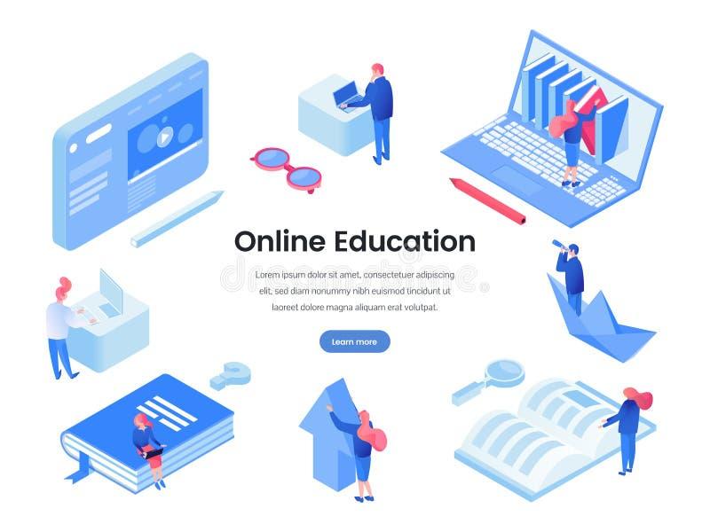 Шаблон онлайн страницы посадки образования равновеликий бесплатная иллюстрация