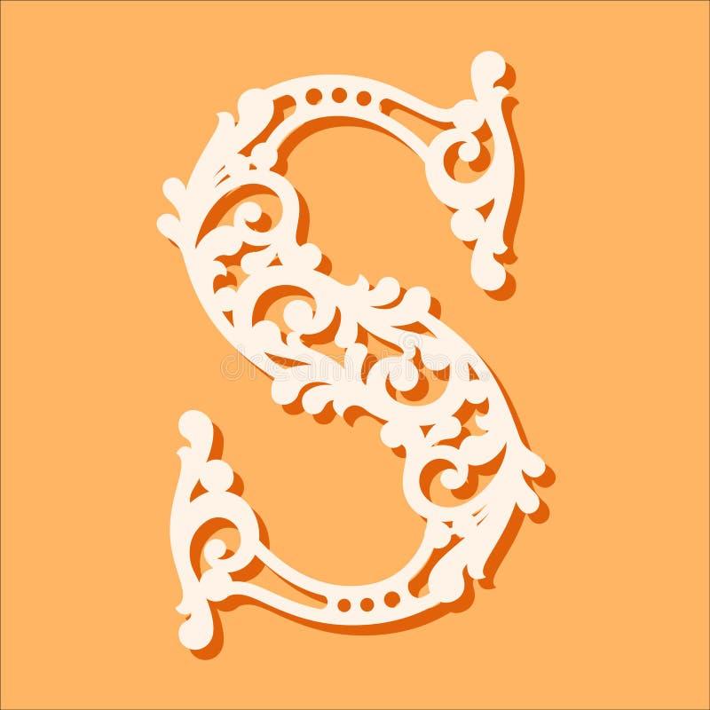Шаблон отрезка лазера Начальные письма вензеля Причудливое флористическое письмо алфавита иллюстрация вектора