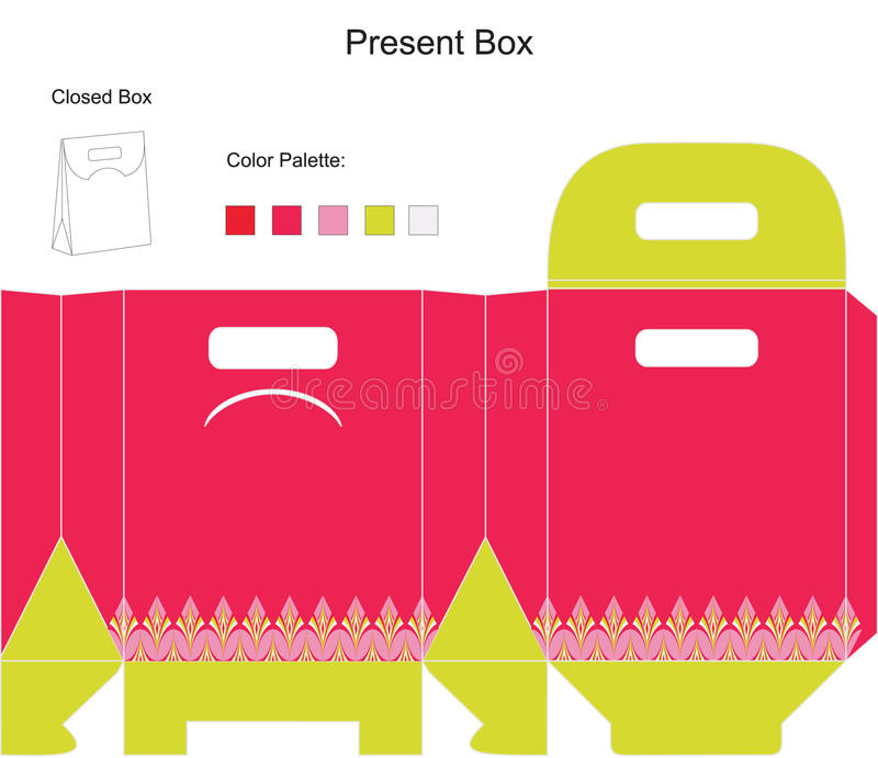 шаблон пинка подарка коробки иллюстрация вектора