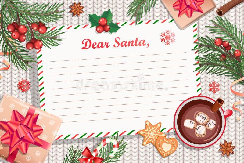Шаблон письма рождества к Санта Клаусу иллюстрация вектора