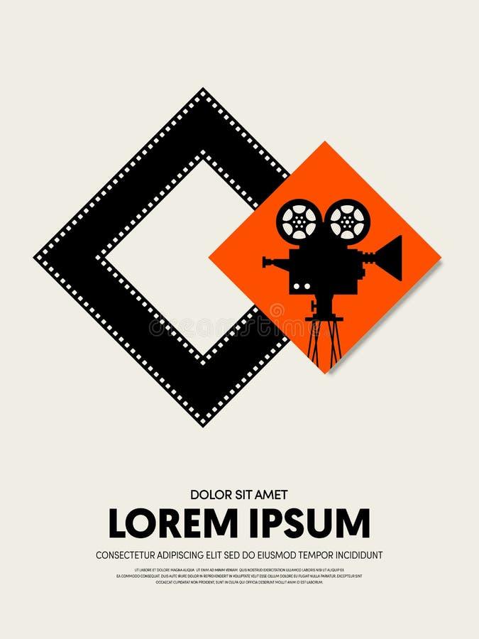 Шаблон плаката кино и фестиваля фильмов конструирует современный ретро год сбора винограда бесплатная иллюстрация