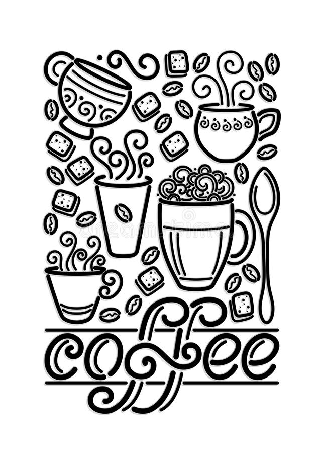 Шаблон плаката кофейни винтажный с чашками, завихряется горячий пар, Graines и сахар бесплатная иллюстрация