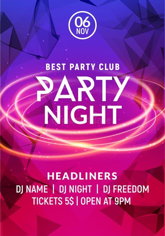 Шаблон плаката ночи музыки танцев ночи Electro приглашение рогульки события партии клуба диско концерта стиля иллюстрация штока