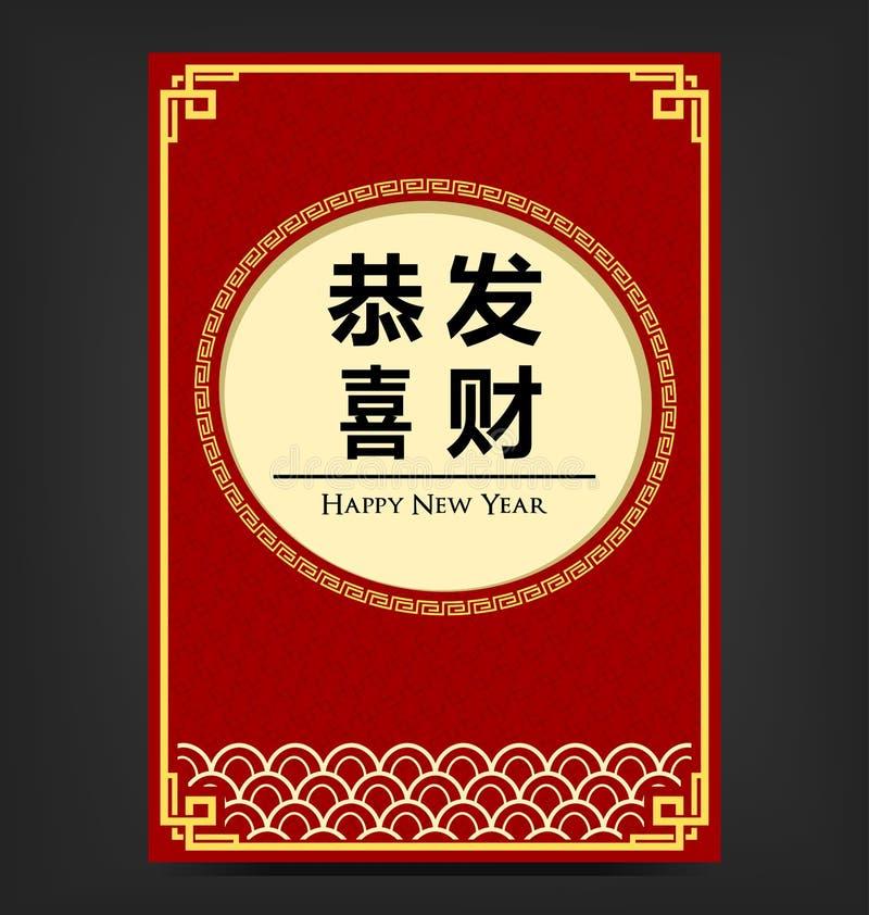 Шаблон плаката печати Нового Года фарфора вектора вскользь красный с восточным орнаментом иллюстрация вектора