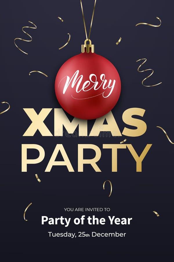 Шаблон плаката рождественской вечеринки Дизайн зимнего отдыха с красным шариком, confetti и каллиграфией Xmas иллюстрация вектора