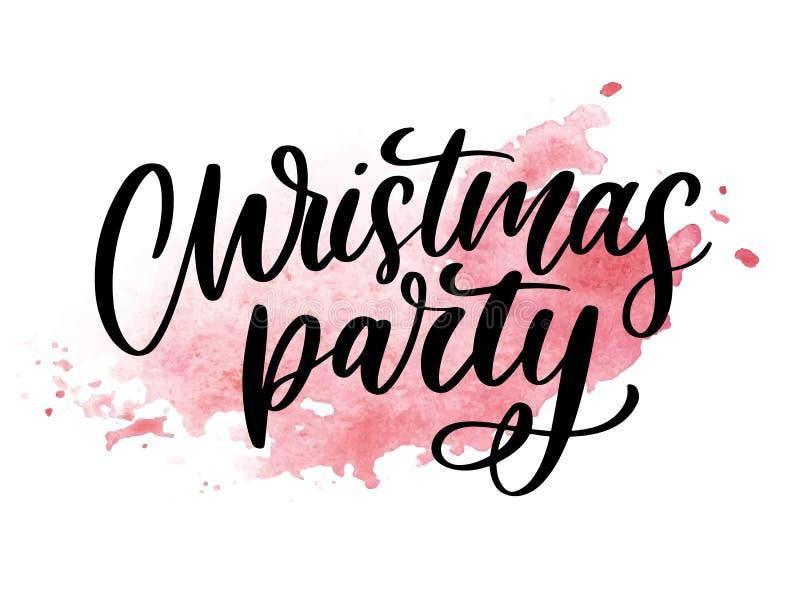 Шаблон плаката рождественской вечеринки Литерность написанная рукой, сверкная лозунг оформления иллюстрация штока