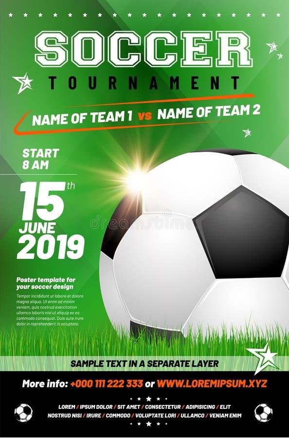 Шаблон плаката турнира футбола с текстом образца в отдельном l иллюстрация штока