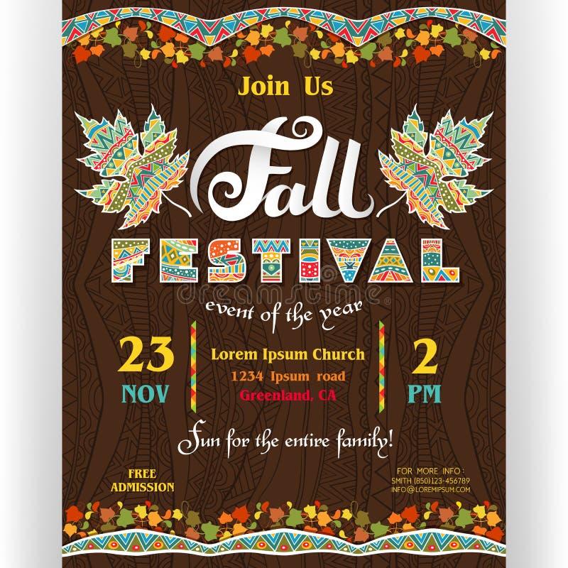 Шаблон плаката фестиваля падения с подгонянным текстом иллюстрация штока