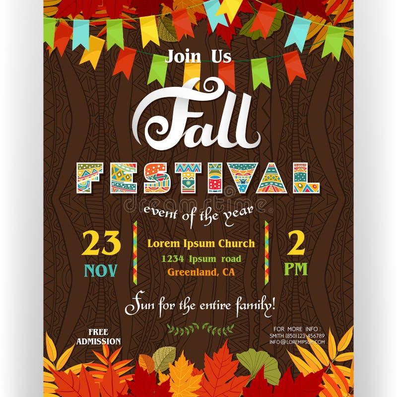 Шаблон плаката фестиваля падения Текст подгонянный для приглашения бесплатная иллюстрация