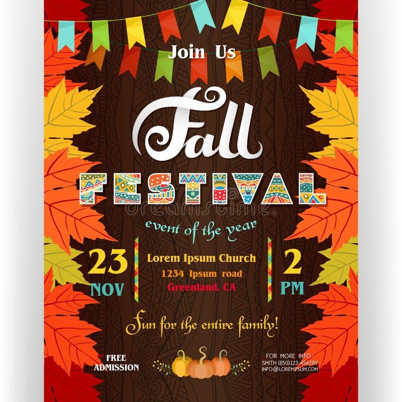 Шаблон плаката фестиваля падения иллюстрация штока