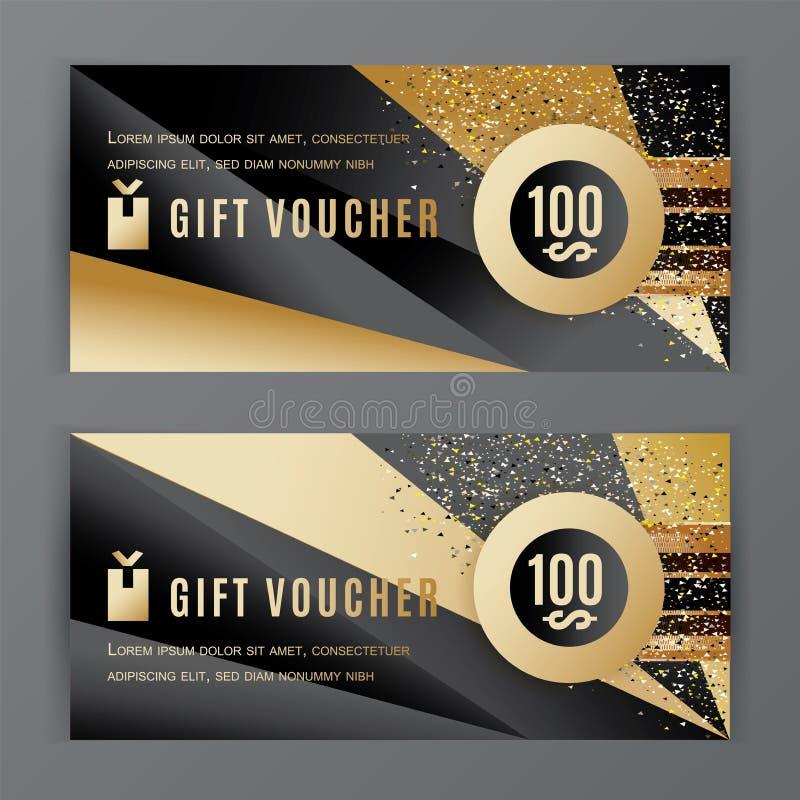 Шаблон подарочного сертификата вектора Всеобщие элементы дизайна черного золота рогульки Значение подарочного сертификата 100 дол иллюстрация штока