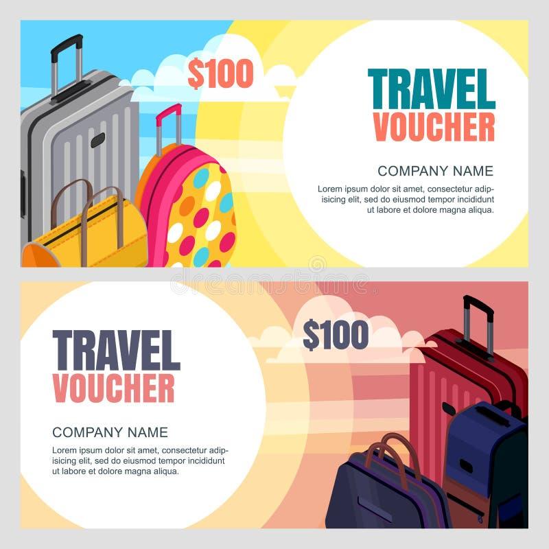 Шаблон подорожной вектора равновеликая иллюстрация 3d сумок багажа Знамя, талон, сертификат, план рогульки иллюстрация вектора