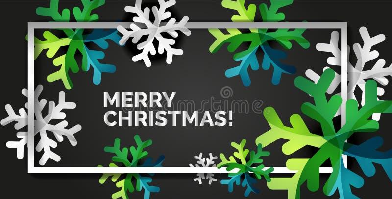 Шаблон поздравительной открытки рождества снежинки иллюстрация вектора