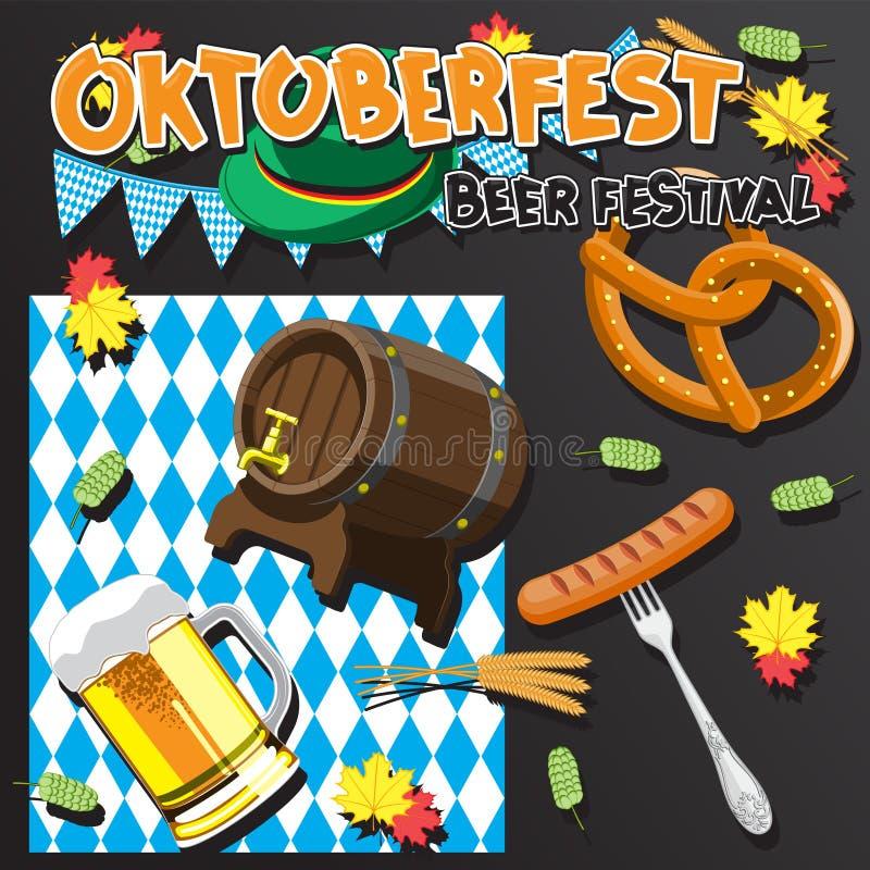 Шаблон поздравительной открытки фестиваля пива Бочонок пива, стекло ушей писем орнамента сосиски вилки флага шляпы лист хмеля изо бесплатная иллюстрация