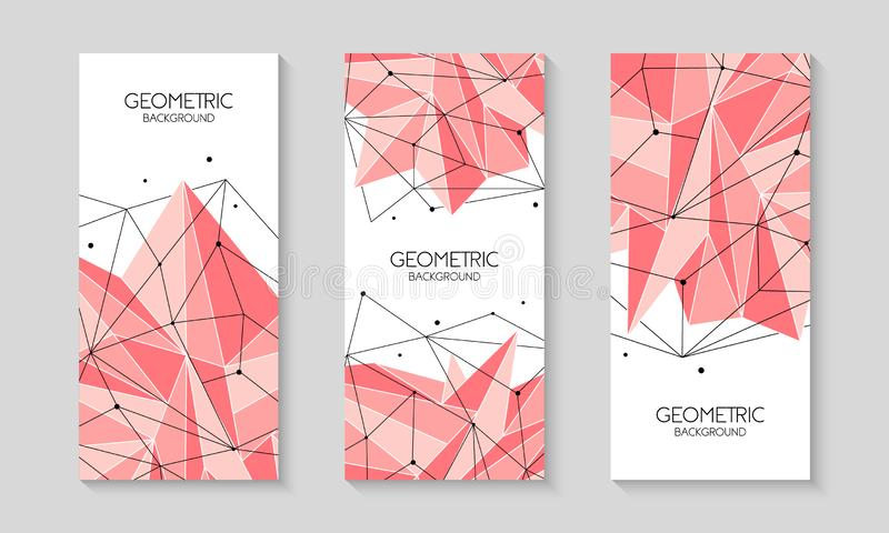 Шаблон полигонального конспекта пинка футуристический, низкий поли знак на белой предпосылке Линии вектора, точки и формы треугол иллюстрация штока