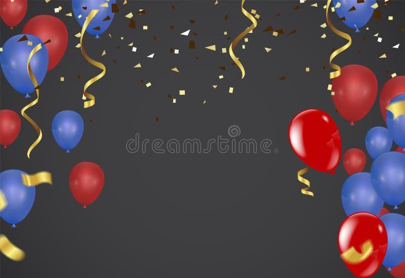 Шаблон предпосылки торжества с confetti и ленты красные и голубые иллюстрация вектора