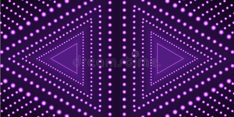 Шаблон предпосылки треугольников вектора ультрафиолетов, неоновая геометрическая форма, технология иллюстрация штока