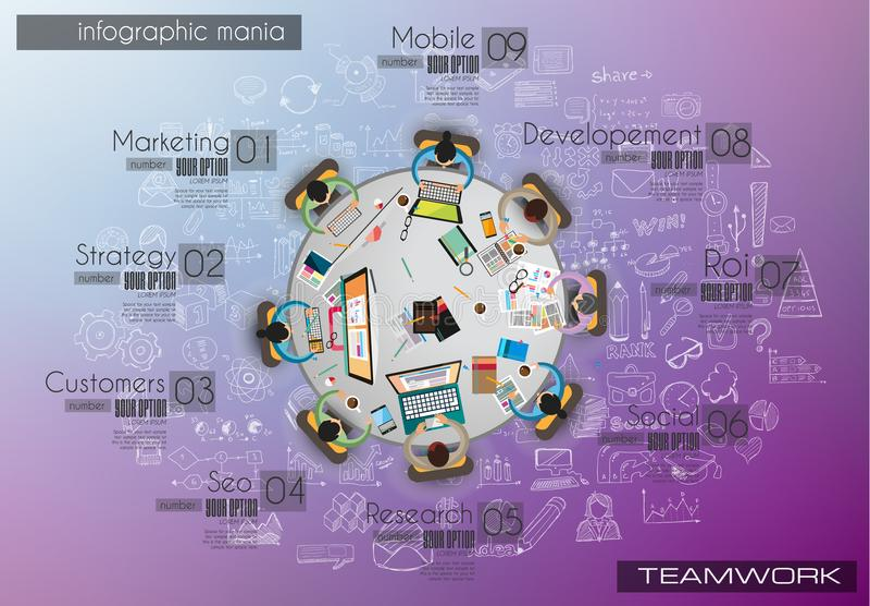 Шаблон предпосылки Infograph с temworking таблицей метода мозгового штурма с infographic элементами дизайна иллюстрация штока