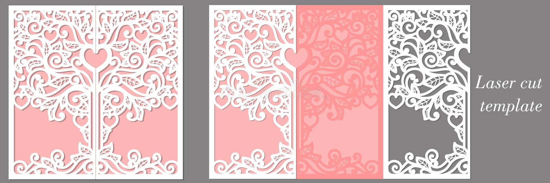 Шаблон приглашения свадьбы для шаблона приглашения лазера cuttingwedding для вырезывания лазера иллюстрация штока