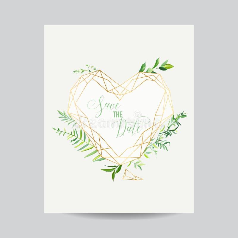 Шаблон приглашения свадьбы флористический Сохраньте рамку даты с местом для ваших текста и тропических листьев карточка 2007 прив иллюстрация вектора