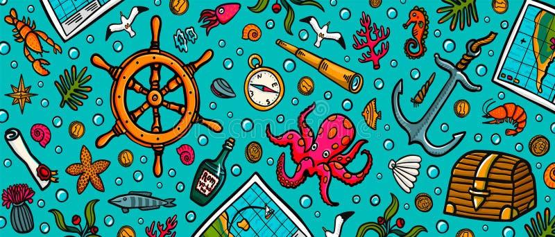 Шаблон приключений моря Вектор и объекты морской руки вычерченный Иллюстрация вектора стиля Doodle бесплатная иллюстрация
