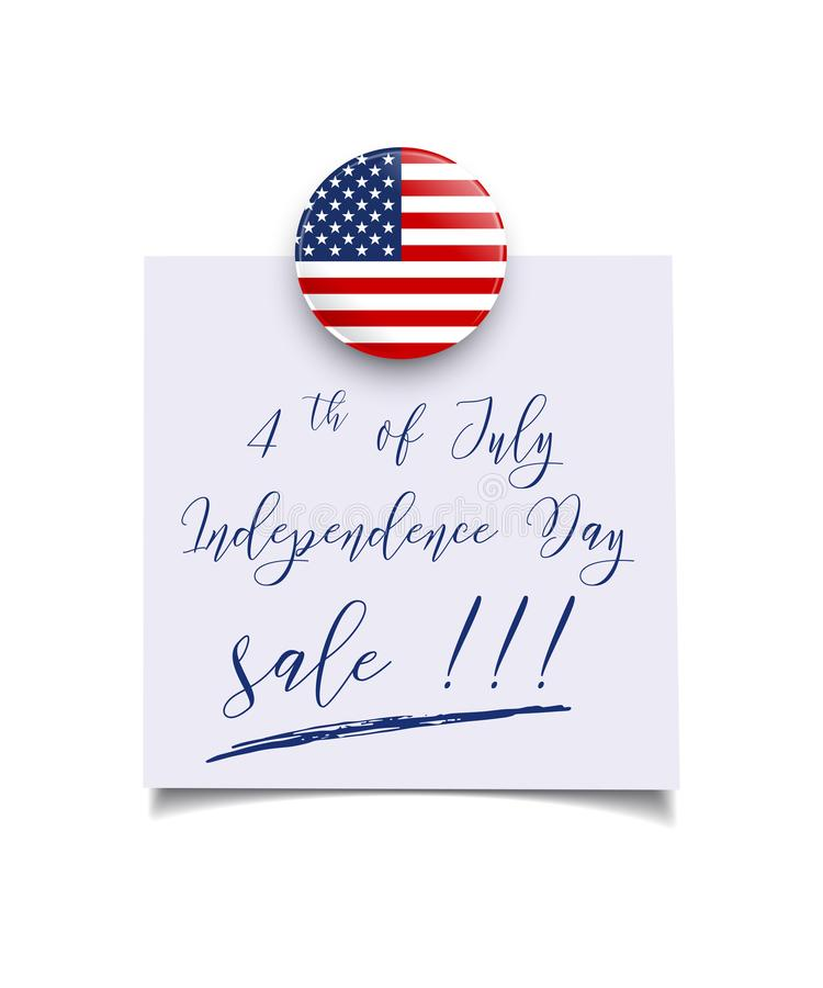 Шаблон продажи Дня независимости США Магнит и бумага флага США вектора покрывают с 4-ым из текста продажи Дня независимости в июл иллюстрация штока