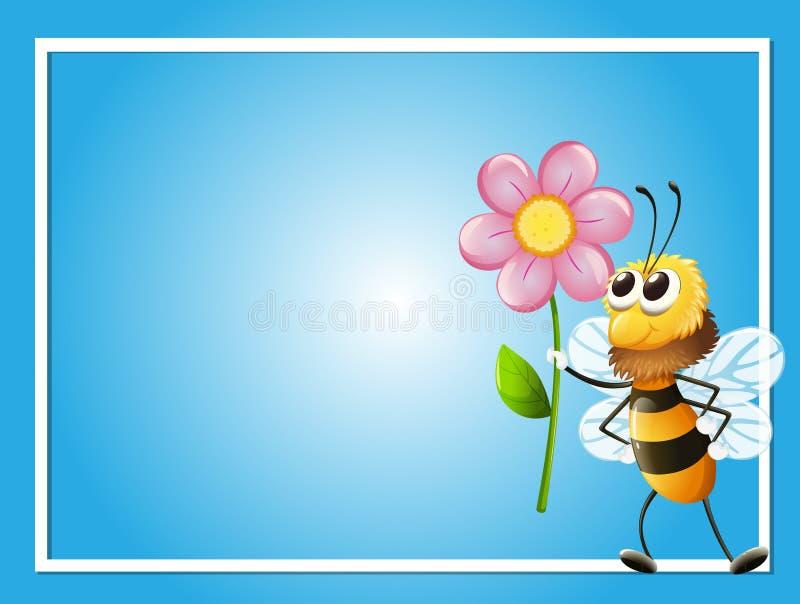 Шаблон рамки с пчелой и цветком иллюстрация вектора