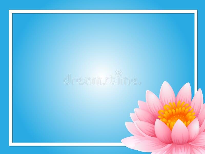Шаблон рамки с розовым лотосом иллюстрация штока