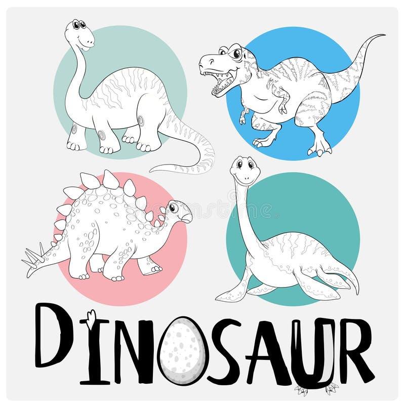 Шаблон расцветки с 4 динозаврами иллюстрация штока