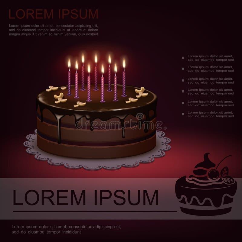 Шаблон реалистического сладкого дня рождения праздничный иллюстрация вектора