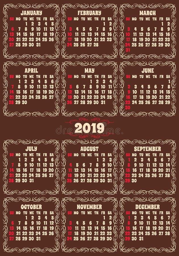 Шаблон решетки календаря цвета вектора для дизайна календаря кармана иллюстрация штока