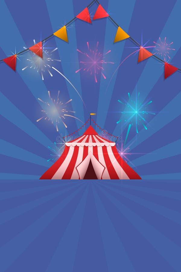 Шаблон рогульки ярмарки масленицы и потехи Vector логотип с покрашенным шатром и фейерверками бесплатная иллюстрация