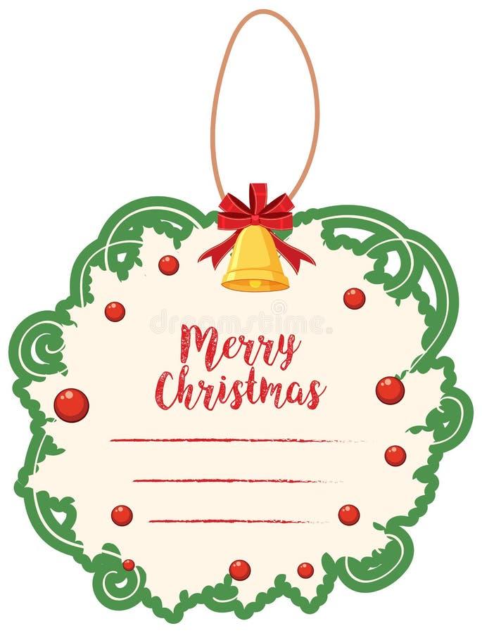 Шаблон рождественской открытки с зелеными границей и колоколом иллюстрация вектора