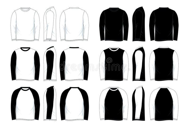 Шаблон рубашки Raglan рукава ` s людей пустой черно-белый длинный иллюстрация вектора