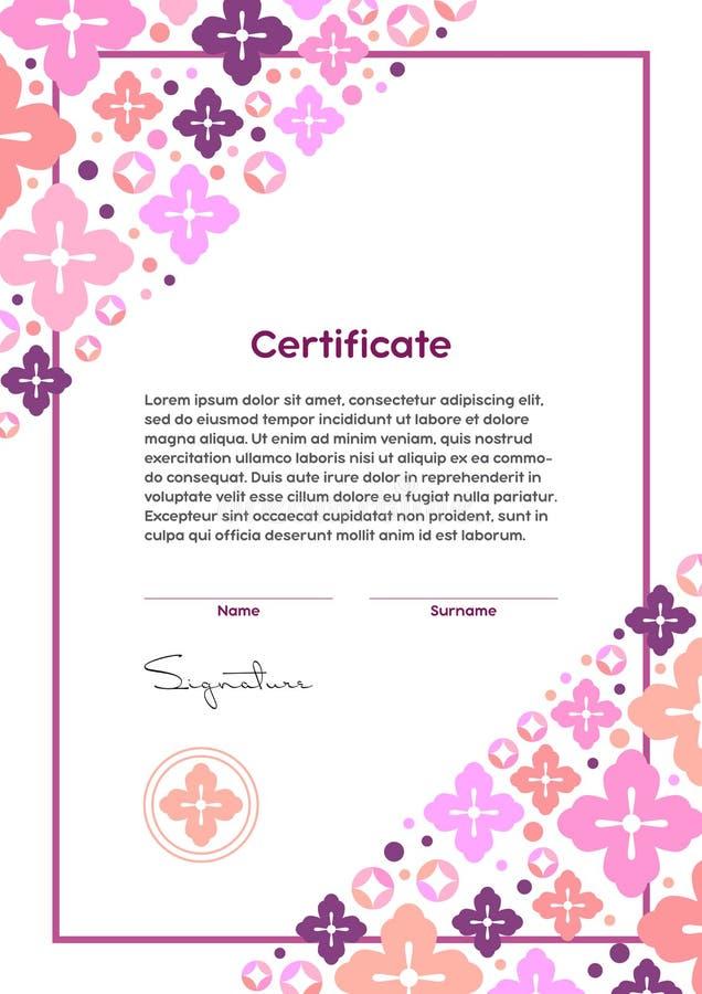 Шаблон сертификата вектора Японский современный стиль Салон красоты, йога, курорт, диплом состава бесплатная иллюстрация
