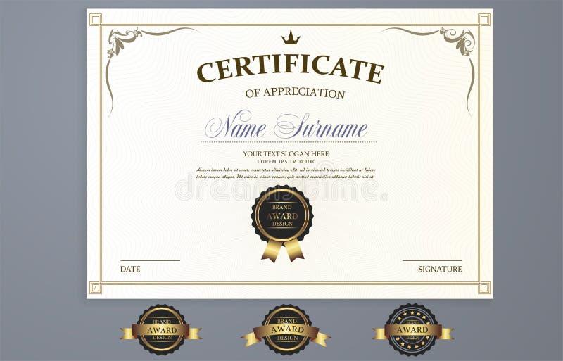Шаблон сертификата вектора иллюстрация вектора