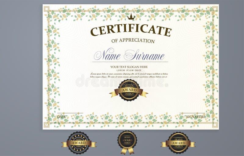 Шаблон сертификата вектора иллюстрация штока