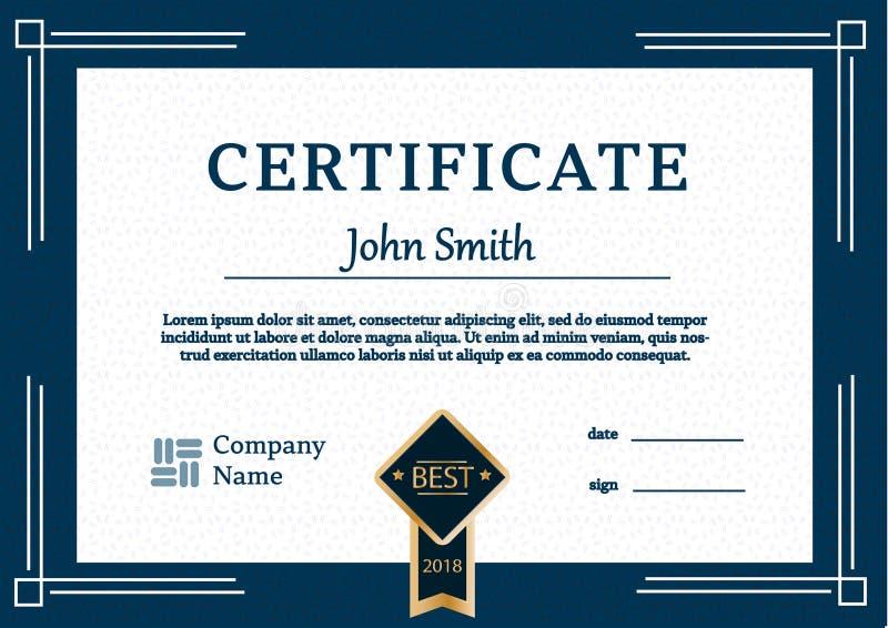 Шаблон сертификата награждает вектор A4 предпосылки диплома иллюстрация штока
